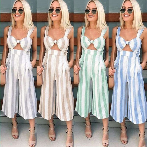 Elizabeth Striped Jumpsuit - Lyndaz